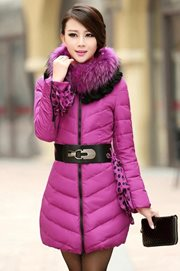 JAKET MUSIM DINGIN - RosePurple Fur Padded Coat