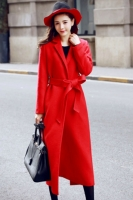 LONG COAT WANITA KOREA - RED WOOLEN COAT