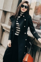 JAKET WINTER WANITA - Black Korean Long Coat