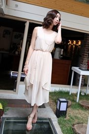 SEMI LONG DRESS KOREA - Apricot Chiffon dress