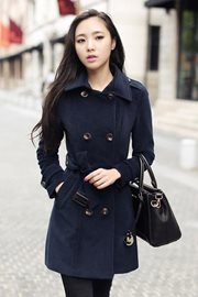 JAKET MUSIM DINGIN - Navy Long Coat