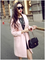 JAKET MUSIM DINGIN KOREA - Pink Long Coat