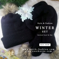 SET TOPI RAJUT & SCARF - 5Color PomPom Fur Knitted Hat