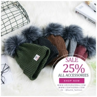 TOPI RAJUT MUSIM DINGIN � 5 COLOR PomPom Fur Knitted Hat