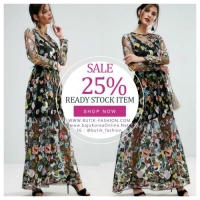 READY STOCK LONG DRESS FLORAL WANITA KOREA