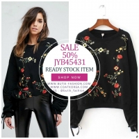 SWEATER RAJUT IMPORT BIG SIZE - Black Embroidered